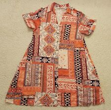 Poema Womens Orange Blue Floral Longer S/S Button Shirt Size Large Nice!