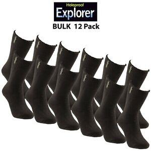 Mens Holeproof Explorer Socks Original Cotton Blend Terry Work 12 Pack S1130