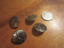 "Lot of 4 Dill Silver w/ Etched Design Plastic 1"" Round Shank Buttons NEW"