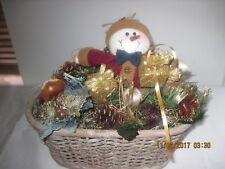 Cute Snowman Xmas Christmas Table Decor Presents Pinecones