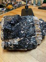 Black Tourmaline Crystal Mineral Gemstone With Mica Quartz & Garnet Specimen 557
