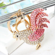 Chicken Cock Rooster Cute Pendant Crystal Purse Bag Key Chain New Wedding Gift