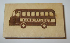 "School Bus Rubber Stamp New Clearsnap Wood Mounted 1 3/4"" High by 3"" Long"