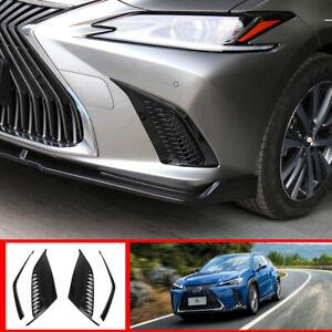 Black Front bumper Fog Light Lamp Frame Cover Trim For 2019-20 Lexus ES300h 350