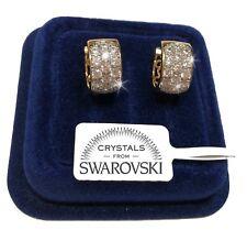 Diana Cerchi Orecchini Uomo Donna Pl. Oro Giallo 18k cristalli Swarovski veri