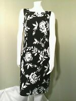 ILE New York Black & White Floral Sleeveless Sheath Dress ~Size 10
