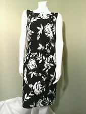 ILE New York Black & White Floral Sleeveless Sheath Dress ~Size 10