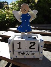 Fair Trade Hand Carved Made Wooden Fairy Angel Wings Perpetual Desk Top Calendar