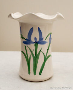 Made-in-the-USA Small White Stoneware Vase with Iris Design by Clay in Motion