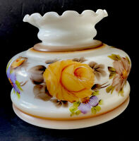 VNTG Hand Painted Floral White Milk Art Glass Parlor Hurricane Lamp Shade 6.5""