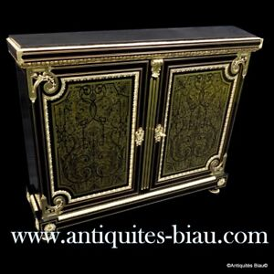 Furniture L XIV 2 doors in brown tortoiseshell Boulle marquetry 19th Napoléon