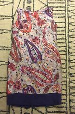 ETRO Silk Linen Sheath Dress Bright Colorful Paisley Print Sleeveless Size 44