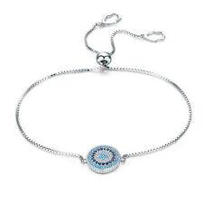 NEW Solid 925 Sterling Silver Luck Evil Eye Charm Bracelet Adjustable Chain