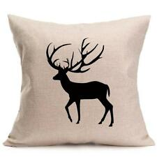 Square Decorative Throw Pillow Case Cushion Cover Deer Buck Black/beige