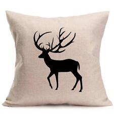 Square Decorative Throw Pillow Case Cushion Cover Deer Buck Black/beige