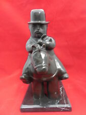 Fernando Botero bronze sculpture of Man on horse finished in black patina