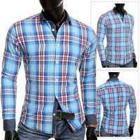 Men's Check Shirt by D&R Lumberjack Casual Denim Collar Cuffs Cyan Blue Slim Fit