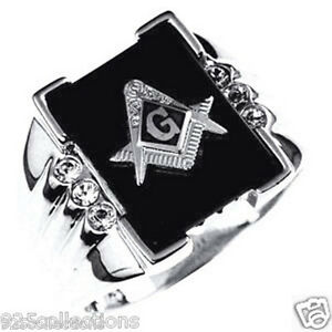 14x12 mm 925 Sterling Silver Mason Masonic Black Onyx Men Ring Jewelry Size 7-14