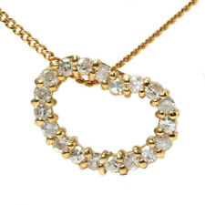 Auth 18K Yellow Gold Diamond Necklace  Free shipping #70648