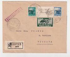 "STORIA POSTALE 1948 TRIESTE ""A"" 3 VALORI SU RACC. 21/4 Z/6598"