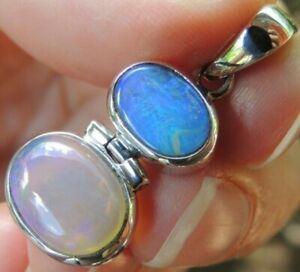 Australian Black & Crystal Opal Pendant Sterling Silver 925 Solid Gems