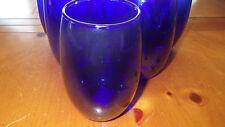 Cobalt Blue Tumblers Glasses Stemless Wine Glasses NWOT 6 15 oz flat bottom
