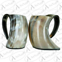 Viking Drinking OX Horn Cups Steins Mugs For Beer Wine Mead Ale 2 Set