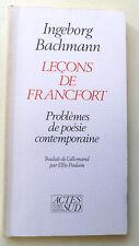 INGEBORG BACHMANN LECONS DE FRANCFORT Problèmes de poésie contemporaine 1986