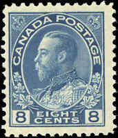 Mint H Canada 8c 1925 F+ Scott #115 King George V Admiral Issue Stamp
