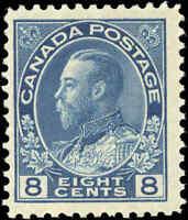 Mint H Canada 8c 1925 F+ Scott #115 King George V Admiral Issue Stamp