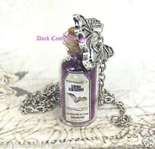 "20"" SP Chain Necklace Bat Wing Glass Bottle Pendant Purple Pixie Dust Goth Magic"