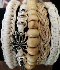 FB04 set of 5 neutral lotus friendship boho surf adjustable cotton bracelets