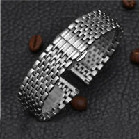 Stainless Steel Metal Strap Bracelet Replacement Watch Band Butterfly Clasp Silv