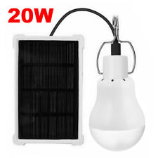 20W Solar Led Bulb Solar Panel Powered Light Tent Lamp Yard Camping Outdoor Usa