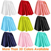 27 Clr Women Girl Satin Short Mini Dress Skirt Pleated Retro Elastic Waist S-3XL