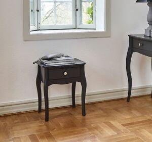 Lyon French Style Black 1 Drawer Bedside Table / Cabinet 45cm 55cm 35cm