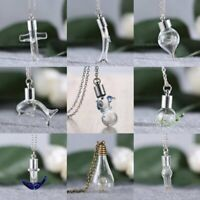 Charm Lady Wish Nature Real Dandelion Dried Flower Glass Bottle Pendant Necklace