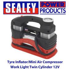 Sealey MAC03 Tyre Inflator/Mini Air Compressor Work Light Twin Cylinder 12V BN