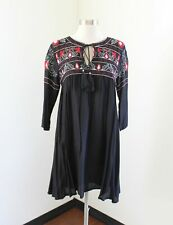 e13f2563ab8d Boohoo Red Black Floral Embroidered Tassel Tunic Shift Dress Size 6 Boho  *Flaw