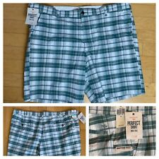 NEW Dockers Green Plaid Perfect Short Classic Fit Flat Front Men's Size 56