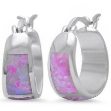 Pink Australian Opal Hoop Huggie .925 Sterling Silver Earrings
