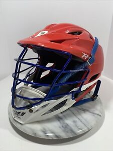Cascade Type R Custom Lacrosse Helmet Red White Blue - Large | Chinstrap