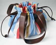 Striped Cloth Bag Purse Tote Leather Handles and Drawstring Closure