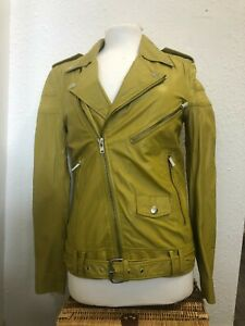 BLK DNM NYC Mens Genuine Gold Olive Green  Leather Jacket Size S