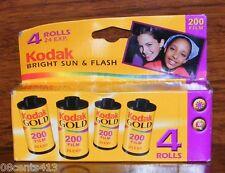 4-Rolls Kodak Gold 35mm 200 Speed Color Film - 24 Exposures Bright Sun & Flash