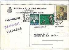 SAN MARINO - STORIA POSTALE : Cartolina agli USA 1959 - OLIMPICI CANI CACCIA