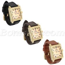 Mens Retro Casual Square Dial Leather Strap Quartz Wrist Watch With Date Display