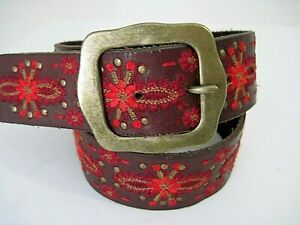 Lucky Brand Leather Red Floral Embroidered Studs Belt Size XS