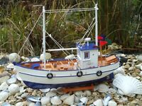 Large Trawler Wooden Model Fishing Boat With Nets Lobster Pots -maritime Ship