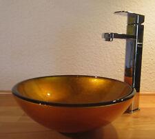 Bad Gäste-wc Waschtisch Aufsatz Glas Waschbecken Waschschale Sunshine Gold 31cm